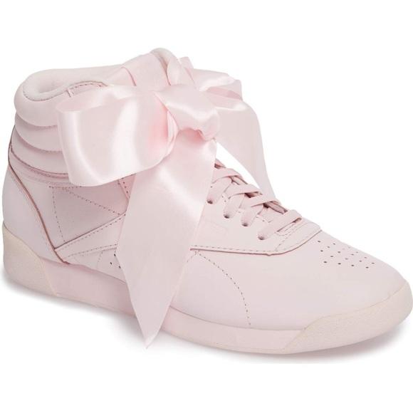 bc97a0bf83c Reebok Shoes - Reebok Freestyle Hi Satin Bow Sneaker